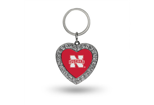 Nebraska Cornhuskers Keychain - Rhinestone Heart