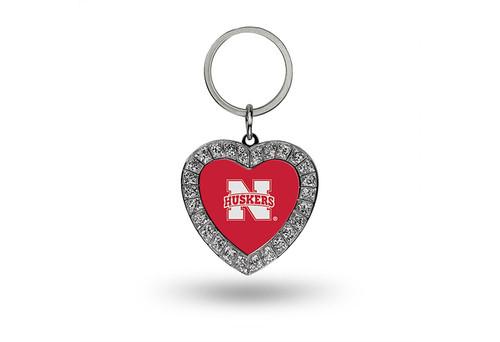 Nebraska Cornhuskers Keychain Rhinestone Heart CO