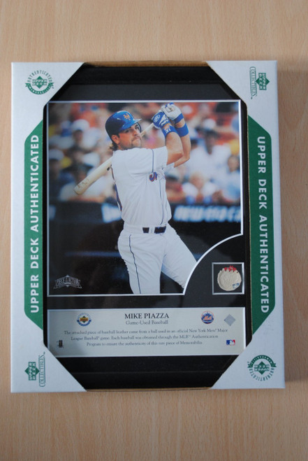 New York Mets Mike Piazza Game Used Baseball Plaque