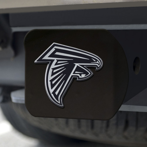 Atlanta Falcons Hitch Cover Chrome Emblem on Black - Special Order