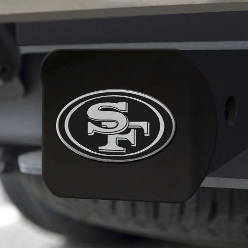 San Francisco 49ers Hitch Cover Chrome Emblem on Black - Special Order