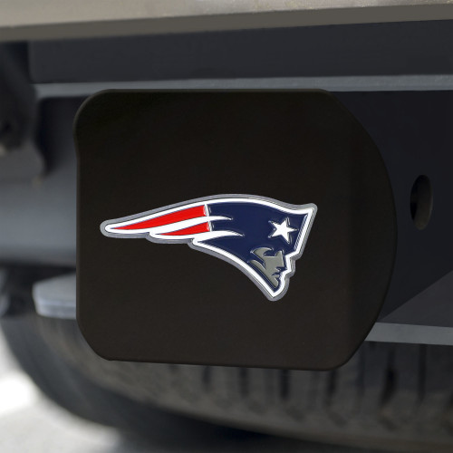 New England Patriots Hitch Cover Color Emblem on Black