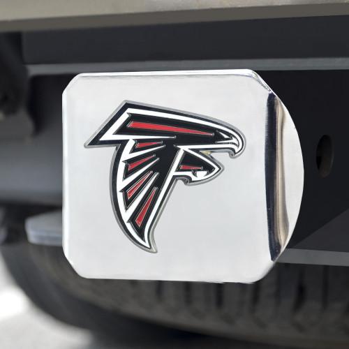 Atlanta Falcons Hitch Cover Color Emblem on Chrome
