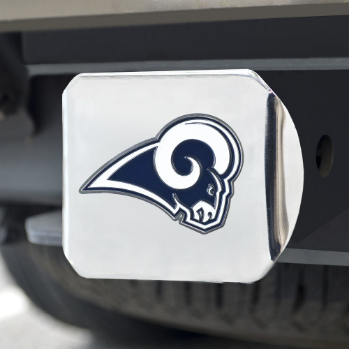 Los Angeles Rams Hitch Cover Color Emblem on Chrome