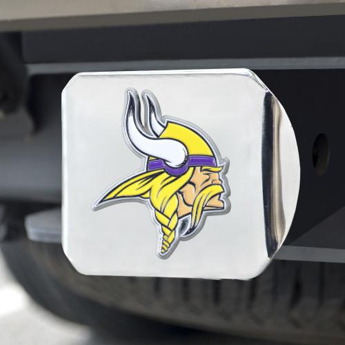 Minnesota Vikings Hitch Cover Color Emblem on Chrome