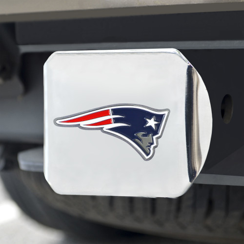 New England Patriots Hitch Cover Color Emblem on Chrome