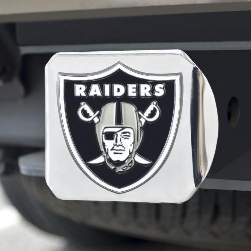 Las Vegas Raiders Hitch Cover Color Emblem on Chrome
