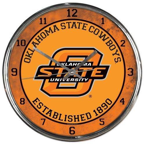 Oklahoma State Cowboys Clock Round Wall Style Chrome