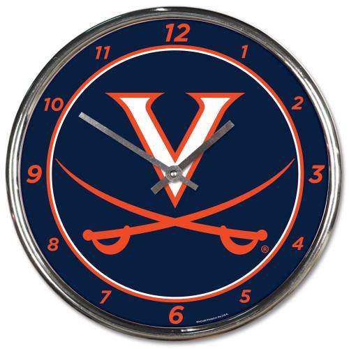 Virginia Cavaliers Clock Round Wall Style Chrome