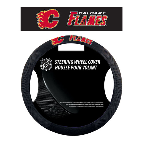 Calgary Flames Steering Wheel Cover Mesh Style - Special Order