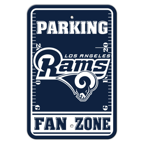 Los Angeles Rams Sign 12x18 Plastic Fan Zone Parking Style Blue and White Logo CO