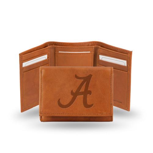 Alabama Crimson Tide Wallet Embossed Trifold Pecan Cowhide - Special Order