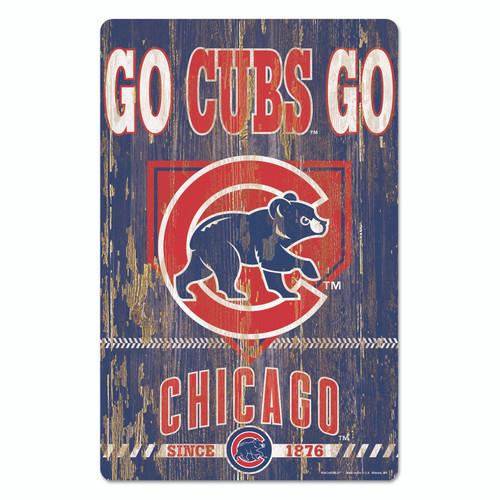 Chicago Cubs Sign 11x17 Wood Slogan Design