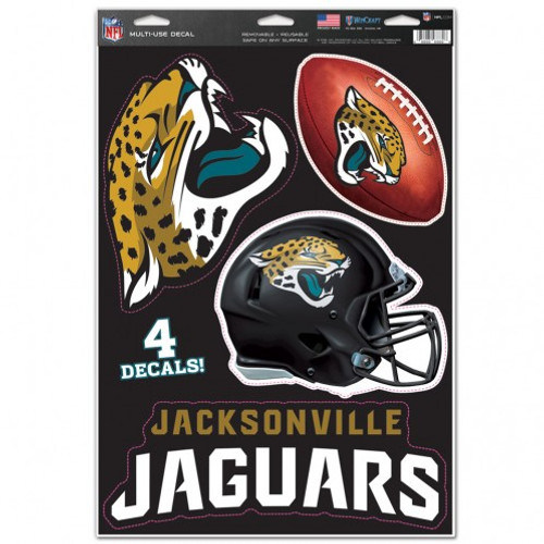 Jacksonville Jaguars Decal 11x17 Multi Use Cut to Logo 4 Piece - Special Order
