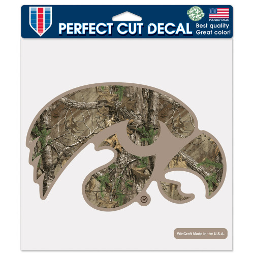 Iowa Hawkeyes Decal 8x8 Perfect Cut Camo - Special Order