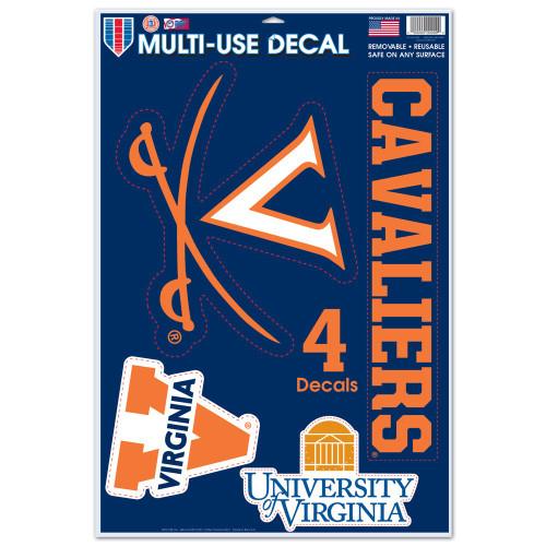 Virginia Cavaliers Decal 11x17 Multi Use 4 Piece - Special Order