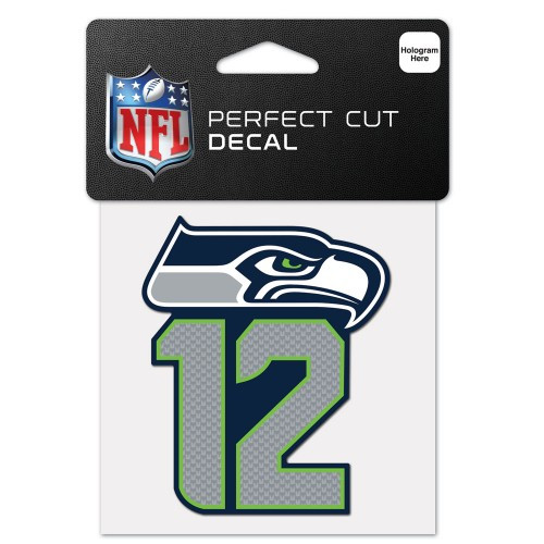 Seattle Seahawks Decal 4x4 Perfect Cut Color 12th Man Design