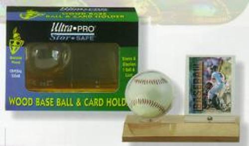 Wood Baseball & Card Holder - Light Wood - Special Order