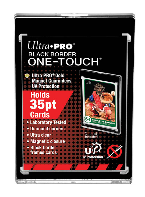 One Touch UV Card Holder With Magnet Closure Black Border - 35pt