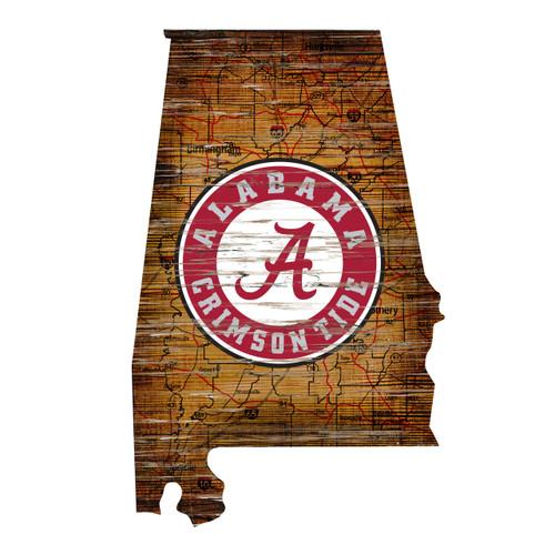 Alabama Crimson Tide Sign Wood 24 Inch State Wall Art Design - Special Order