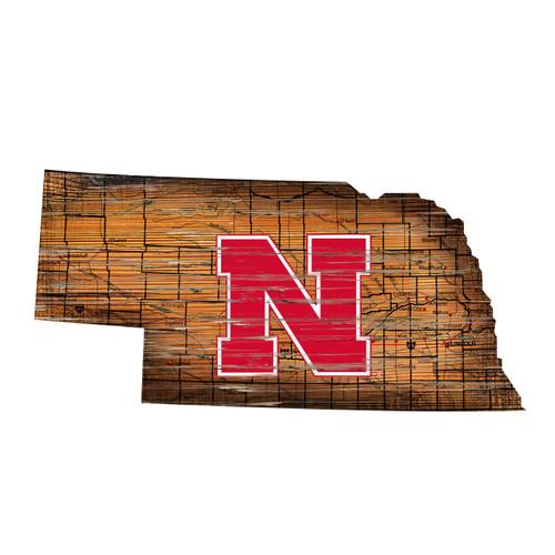 Nebraska Cornhuskers Sign Wood 24 Inch State Wall Art Design - Special Order