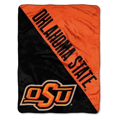 Oklahoma State Cowboys Blanket 46x60 Micro Raschel Halftone Design Rolled