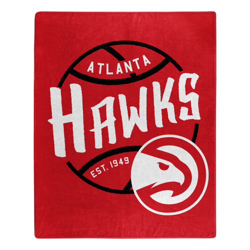 Atlanta Hawks Blanket 50x60 Raschel Blacktop Design - Special Order