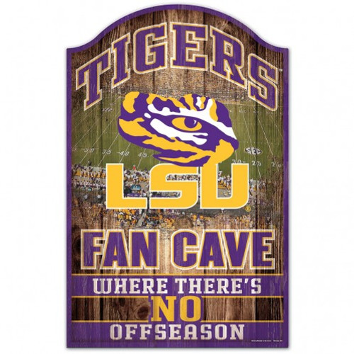 LSU Tigers Sign 11x17 Wood Fan Cave Design
