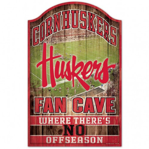 Nebraska Cornhuskers Sign 11x17 Wood Fan Cave Design