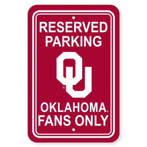 Oklahoma Sooners Sign 12x18 Plastic Reserved Parking Style CO