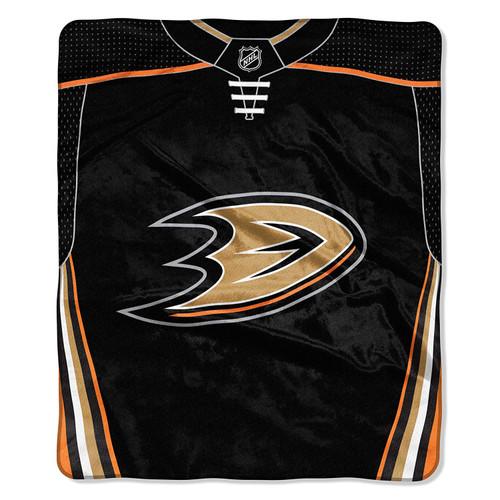 Anaheim Ducks Blanket 50x60 Raschel Jersey Design