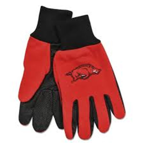 Arkansas Razorbacks Gloves Two Tone Style Adult Size Red