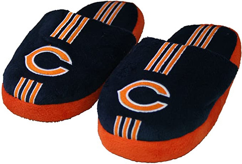 Chicago Bears Slippers - Youth 8-16 Stripe -