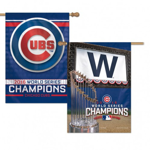 Chicago Cubs Banner 28x40 Vertical 2 Sided 2016 World Series Champs Design