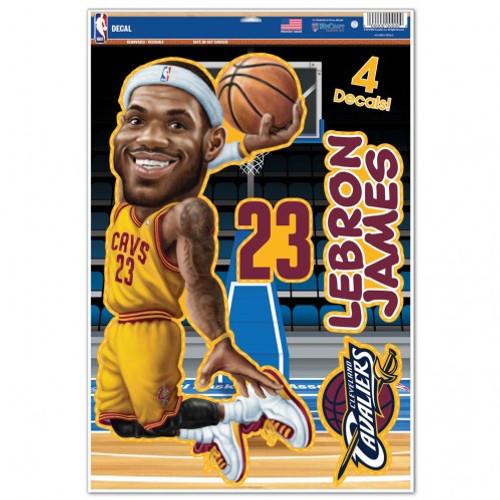 Cleveland Cavaliers Decal 11x17 Multi Use LeBron James Caricature Design CO