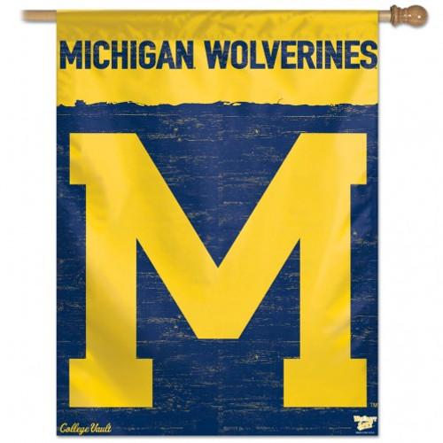 Michigan Wolverines Banner 27x37 Vertical College Vault Design