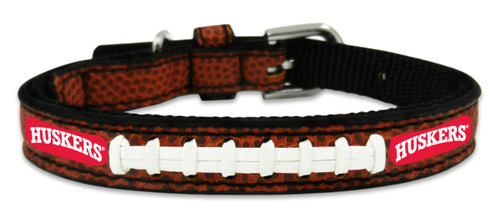 Nebraska Cornhuskers Pet Collar Classic Football Leather Size Toy