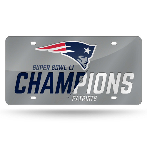 New England Patriots License Plate Laser Cut Silver Super Bowl 51 Champ