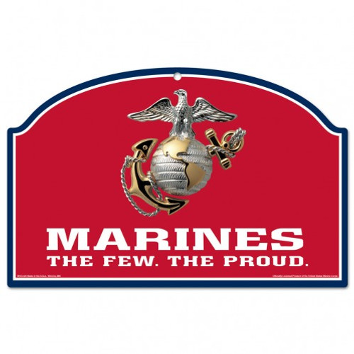 US Marines Red Sign 11x17 Wood