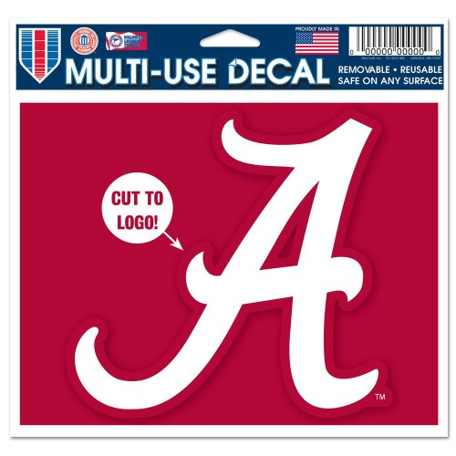 Alabama Crimson Tide Decal 5x6 Multi Use Color Cut to Logo - Special Order