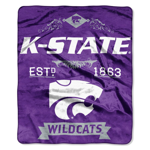 Kansas State Wildcats Blanket 50x60 Raschel Label Design