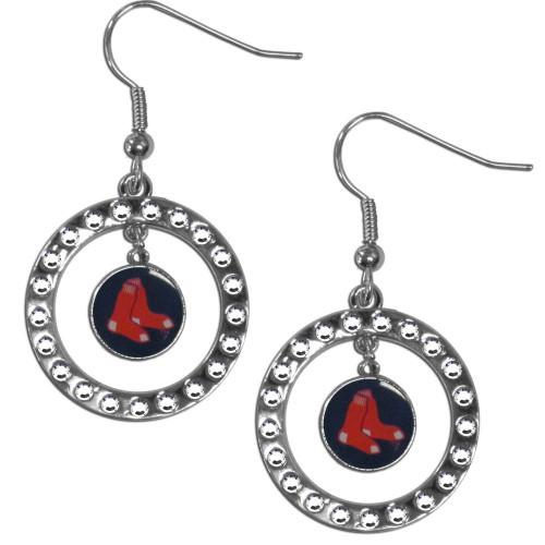 Boston Red Sox Earrings Hoop Rhinestone CO