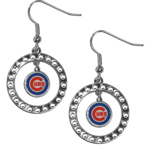 Chicago Cubs Earrings Hoop Rhinestone CO