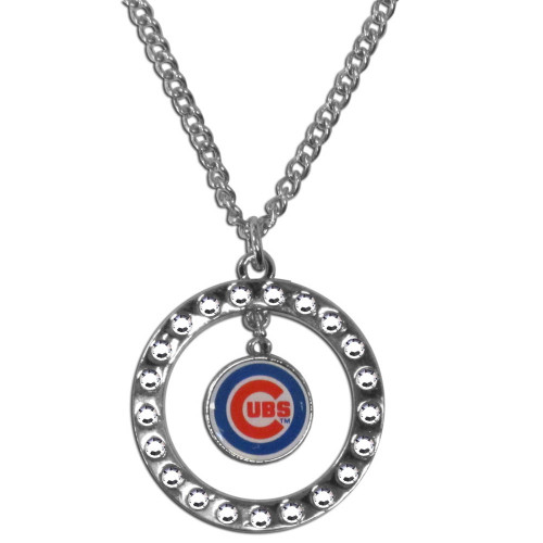 Chicago Cubs Necklace Chain Rhinestone Hoop CO