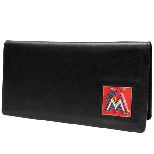 Miami Marlins Checkbook Cover Leather