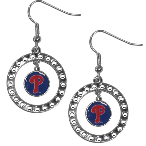 Philadelphia Phillies Earrings Hoop Rhinestone