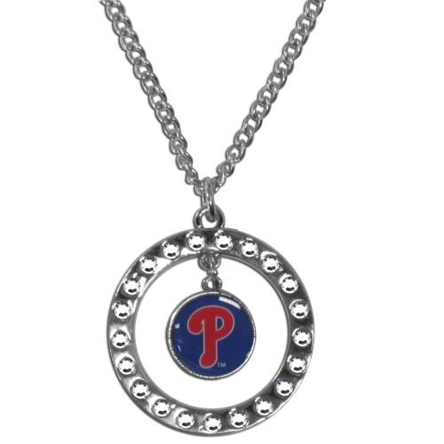 Philadelphia Phillies Necklace Chain Rhinestone Hoop