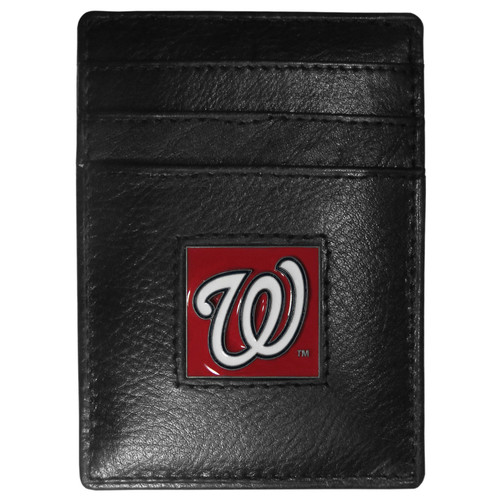 Washington Nationals Wallet Leather Money Clip Card Holder