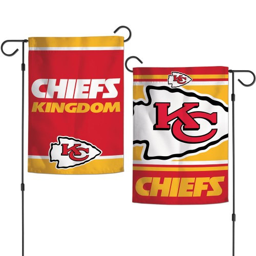 Kansas City Chiefs Flag 12x18 Garden Style 2 Sided Slogan Design - Special Order