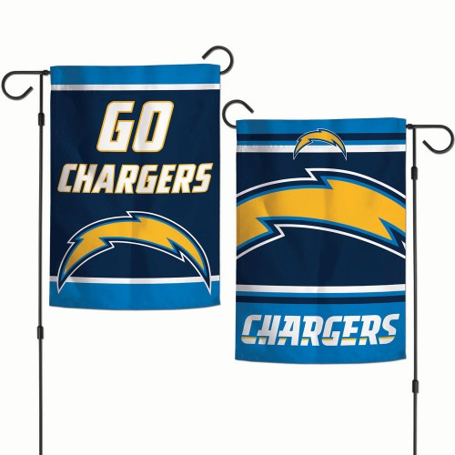 Los Angeles Chargers Flag 12x18 Garden Style 2 Sided Slogan Design - Special Order